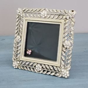 Square Silver with Clear Stones Picture Frame
